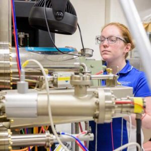 Student in Molecular Beam Epitaxy Lab